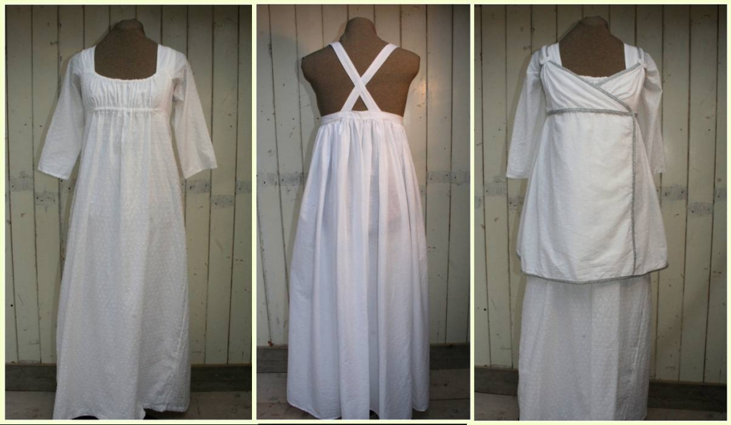 Regency daydress with detachable sleeves, petticoat and short wrap around dress