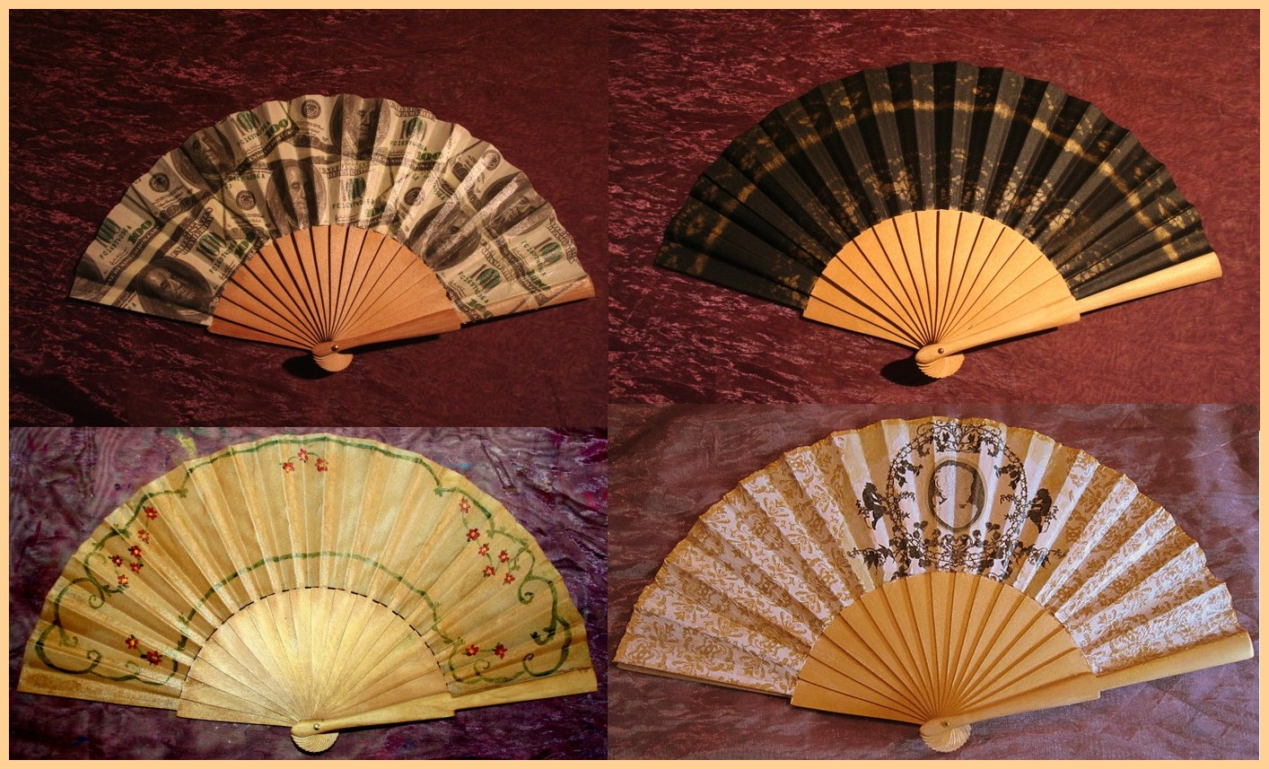 Make Your Own During A Work Or Order One Decorated Parasols Fans With Decoupage Hand Painted Gold Paint Flowers